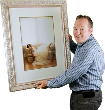 Brisbane Picture Framer David Schummy with matted wedding photo